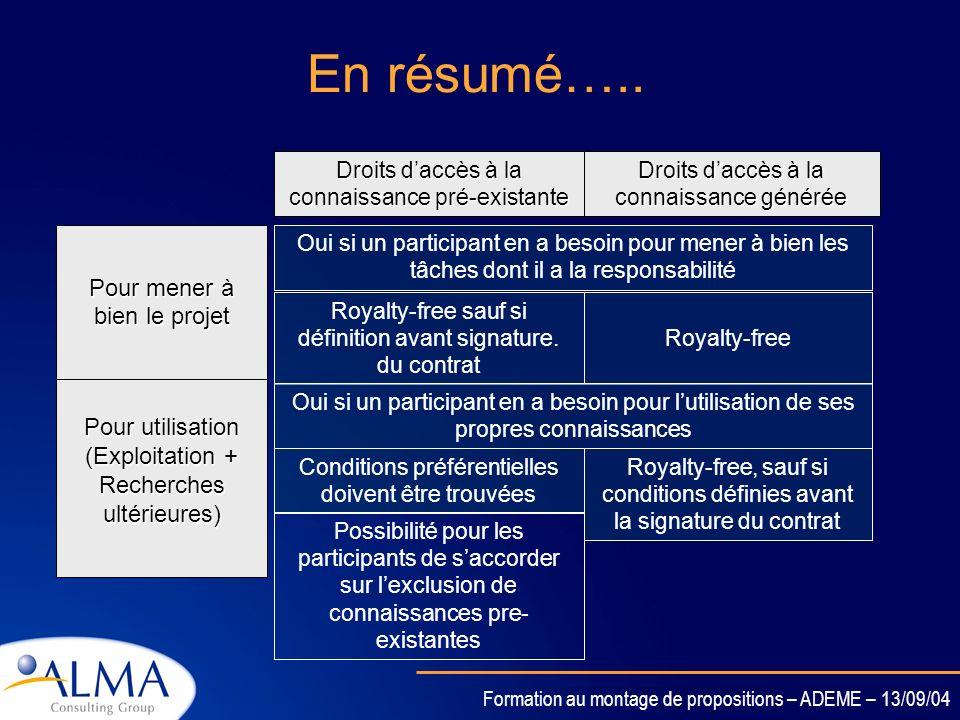 Formation au montage de propositions – ADEME – 13/09/04 Protection & Droits daccès –Une connaissance doit être protégée si une application industriell