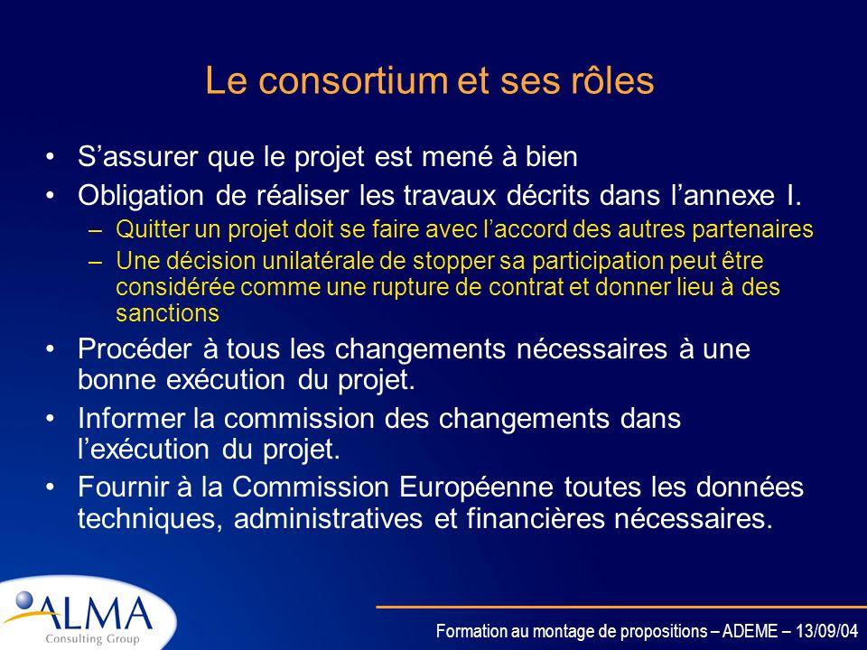 Formation au montage de propositions – ADEME – 13/09/04 Gestion de projets Le consortium et ses rôles (coordinateur, partenaires clés, partenaires sat