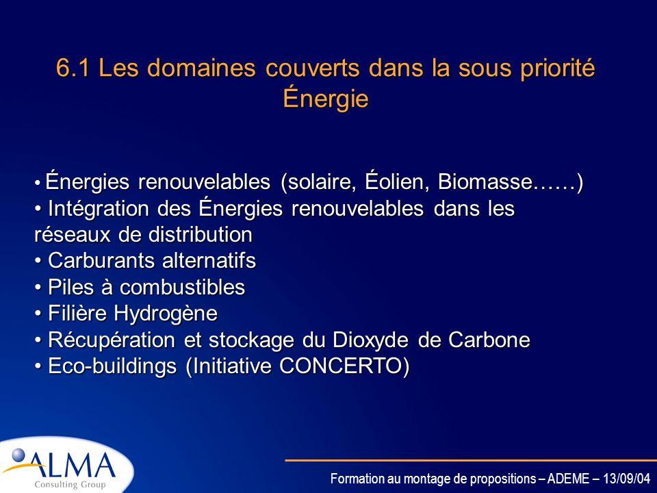 Formation au montage de propositions – ADEME – 13/09/04 6.1 Les domaines couverts dans la sous priorité Énergie Énergies renouvelables (solaire, Éolien, Biomasse……) Intégration des Énergies renouvelables dans les réseaux de distribution Intégration des Énergies renouvelables dans les réseaux de distribution Carburants alternatifs Carburants alternatifs Piles à combustibles Piles à combustibles Filière Hydrogène Filière Hydrogène Récupération et stockage du Dioxyde de Carbone Récupération et stockage du Dioxyde de Carbone Eco-buildings (Initiative CONCERTO) Eco-buildings (Initiative CONCERTO)