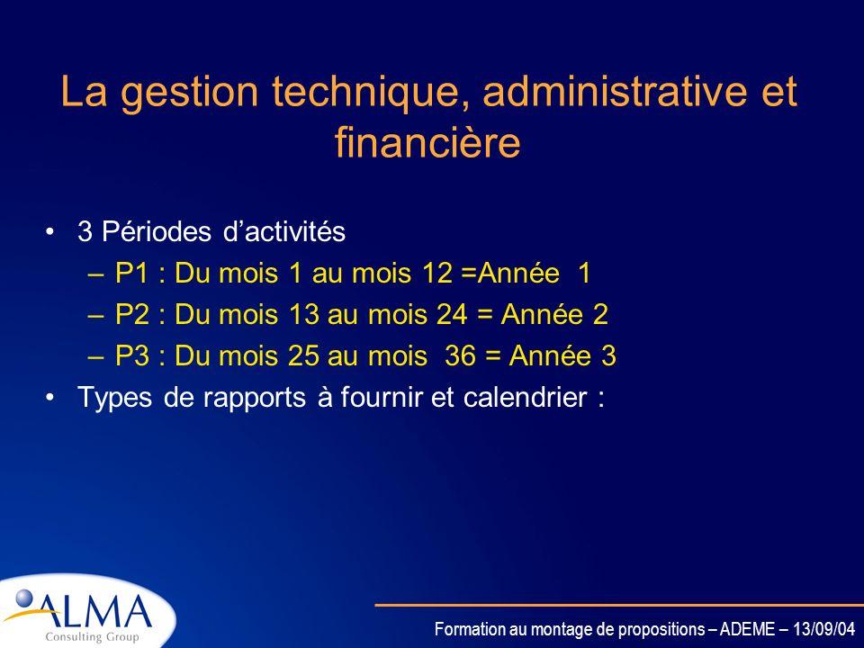 Formation au montage de propositions – ADEME – 13/09/04 Le coordinateur Sassure de la signature du contrat par les partenaires Est lintermédiaire entr
