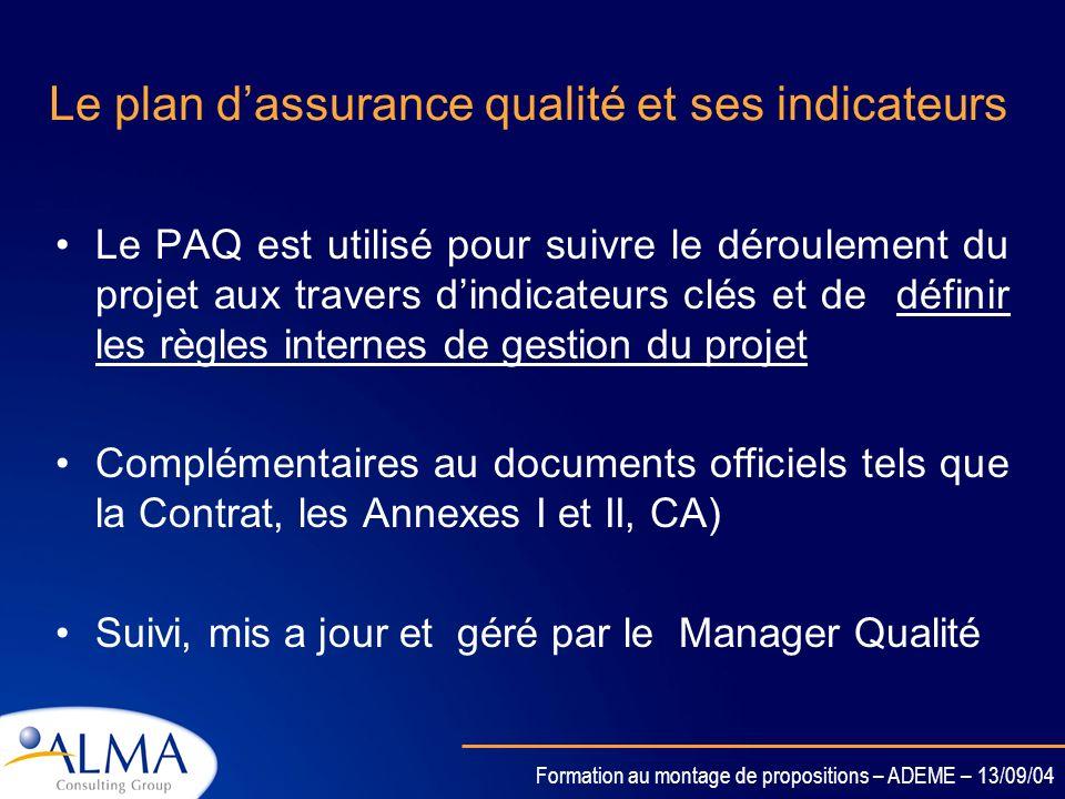 Formation au montage de propositions – ADEME – 13/09/04 Sanctions En cas dirrégularités dans un contrat Exclusion du projet –Exclusion de tous les pro