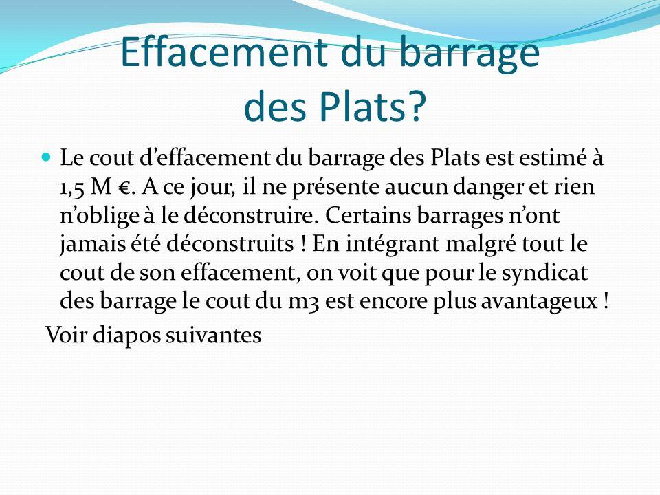 Effacement du barrage des Plats.Le cout deffacement du barrage des Plats est estimé à 1,5 M.