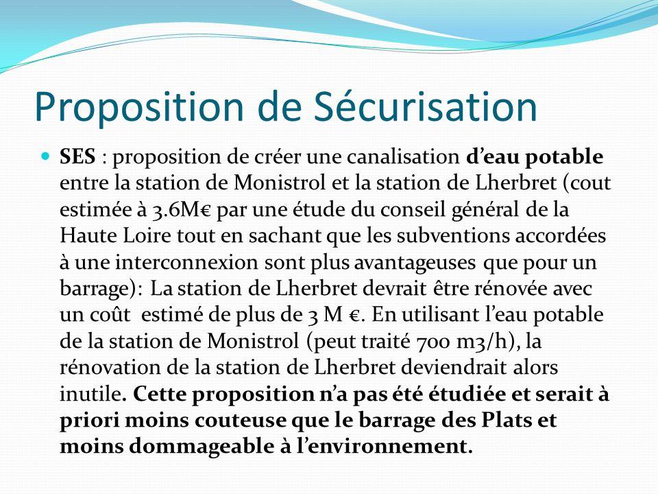 Proposition de Sécurisation SES : proposition de créer une canalisation deau potable entre la station de Monistrol et la station de Lherbret (cout estimée à 3.6M par une étude du conseil général de la Haute Loire tout en sachant que les subventions accordées à une interconnexion sont plus avantageuses que pour un barrage): La station de Lherbret devrait être rénovée avec un coût estimé de plus de 3 M.