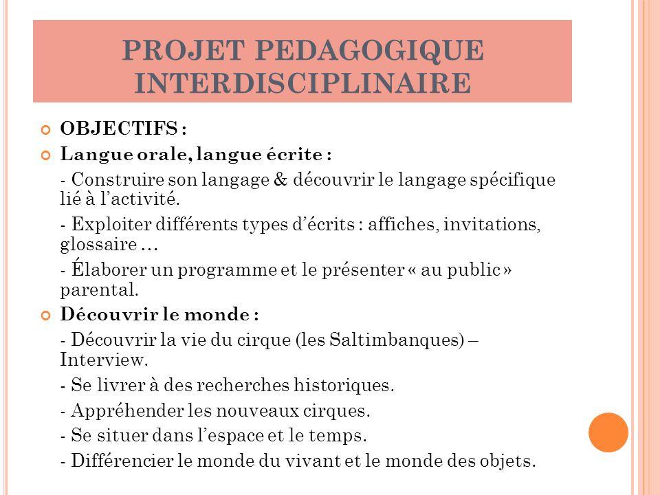PROJET PEDAGOGIQUE INTERDISCIPLINAIRE OBJECTIFS : Langue orale, langue écrite : - Construire son langage & découvrir le langage spécifique lié à lacti