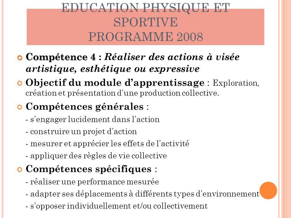 EDUCATION PHYSIQUE ET SPORTIVE PROGRAMME 2008 Compétence 4 Compétence 4 : Réaliser des actions à visée artistique, esthétique ou expressive Objectif d
