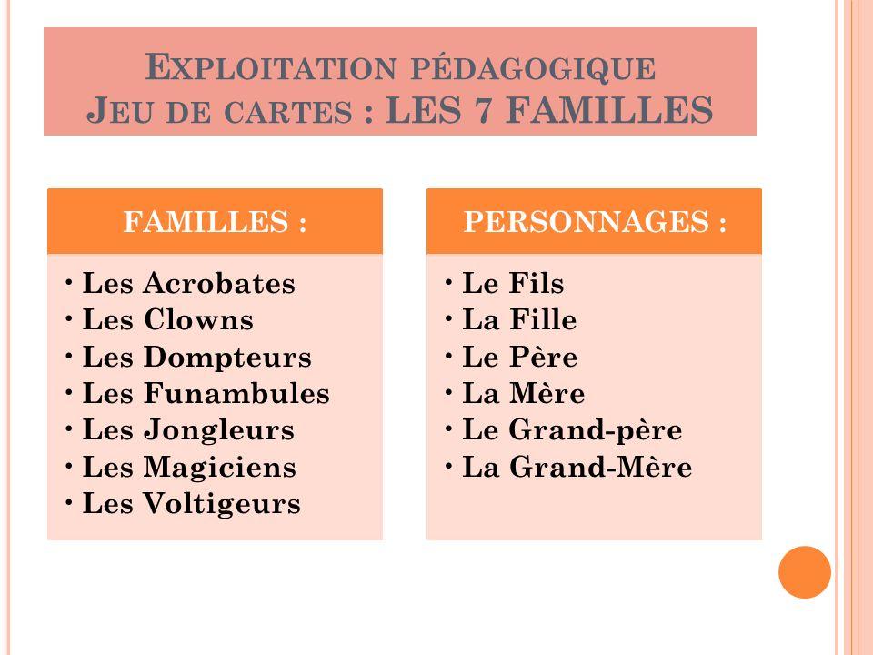 FAMILLES : Les Acrobates Les Clowns Les Dompteurs Les Funambules Les Jongleurs Les Magiciens Les Voltigeurs PERSONNAGES : Le Fils La Fille Le Père La