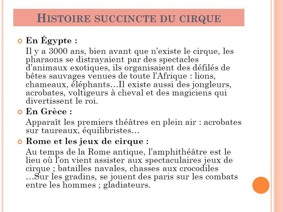 H ISTOIRE SUCCINCTE DU CIRQUE En Égypte : Il y a 3000 ans, bien avant que nexiste le cirque, les pharaons se distrayaient par des spectacles danimaux