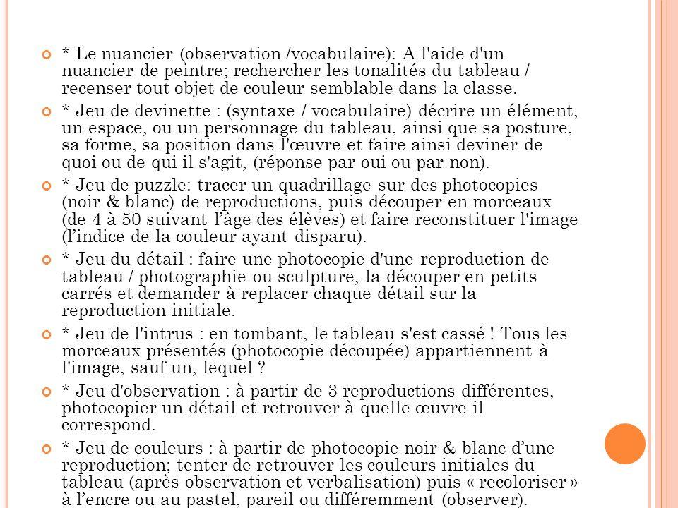 * Le nuancier (observation /vocabulaire): A l'aide d'un nuancier de peintre; rechercher les tonalités du tableau / recenser tout objet de couleur semb