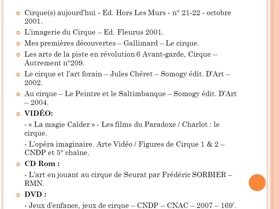 Cirque(s) aujourdhui - Ed. Hors Les Murs - n° 21-22 - octobre 2001. Limagerie du Cirque – Ed. Fleurus 2001. Mes premières découvertes – Gallimard – Le