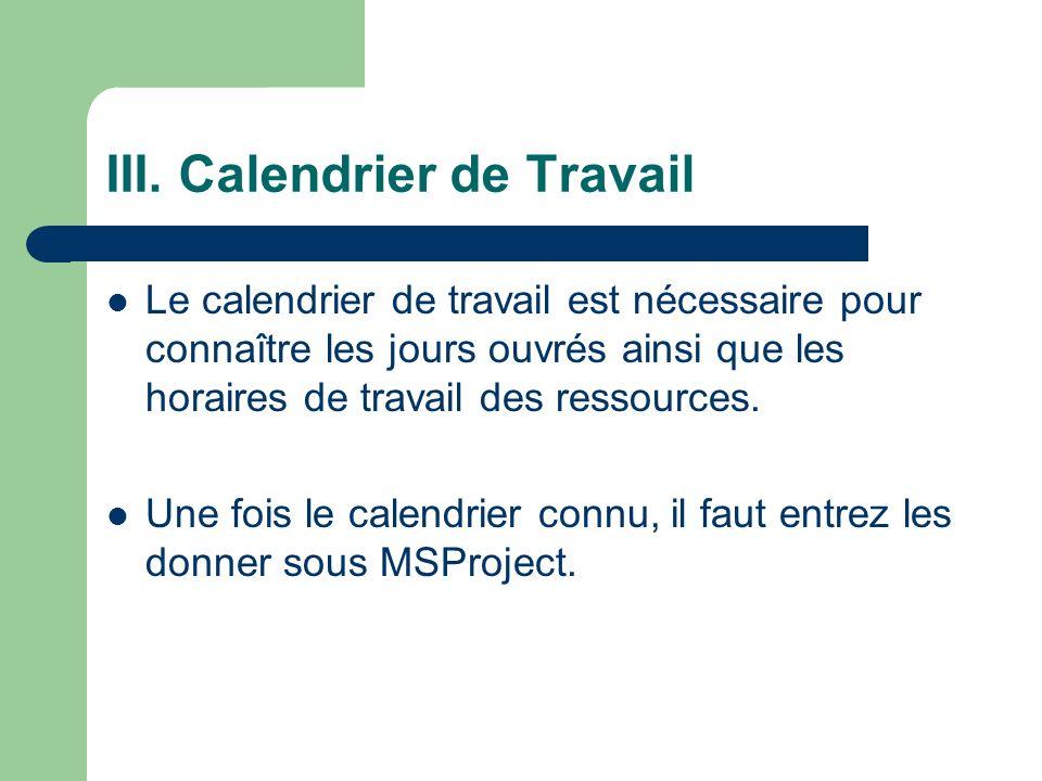 III. Calendrier de Travail Le calendrier de travail est nécessaire pour connaître les jours ouvrés ainsi que les horaires de travail des ressources. U