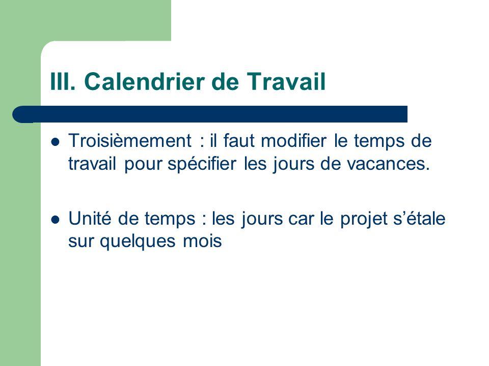 III. Calendrier de Travail Troisièmement : il faut modifier le temps de travail pour spécifier les jours de vacances. Unité de temps : les jours car l