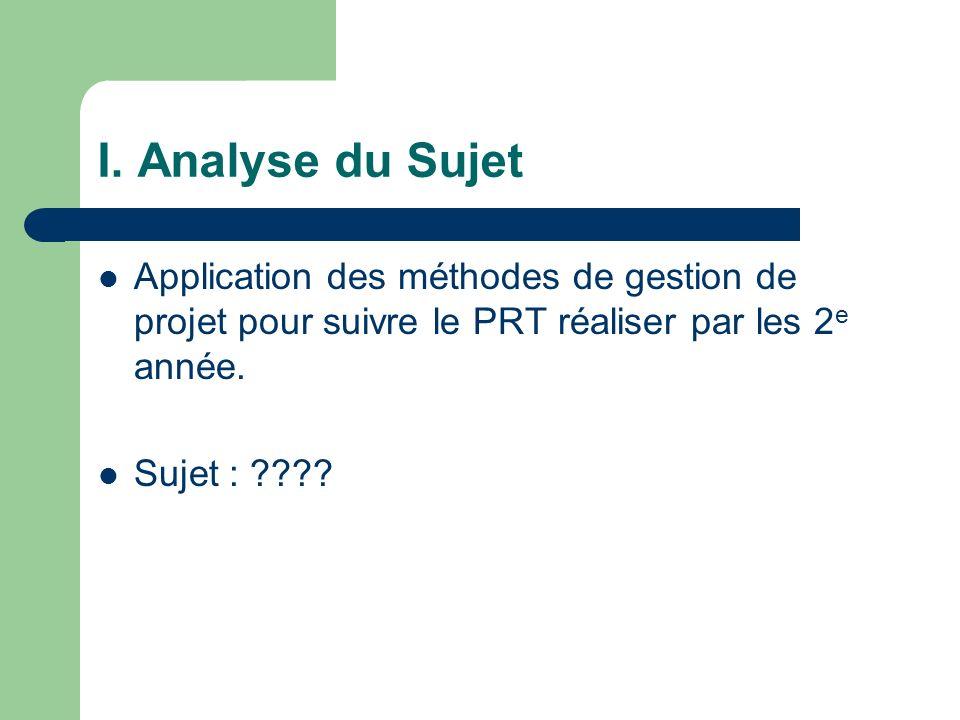I. Analyse du Sujet Application des méthodes de gestion de projet pour suivre le PRT réaliser par les 2 e année. Sujet : ????