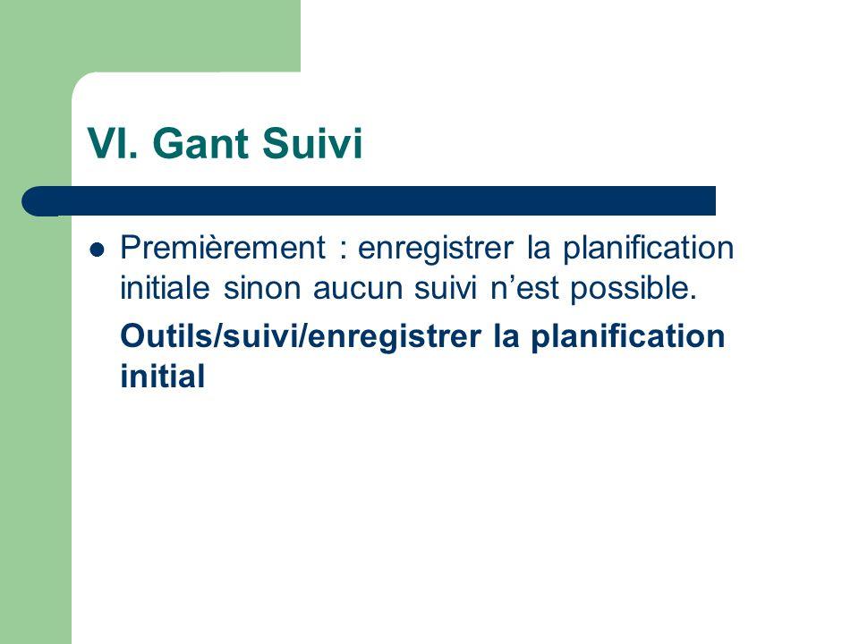VI. Gant Suivi Premièrement : enregistrer la planification initiale sinon aucun suivi nest possible. Outils/suivi/enregistrer la planification initial