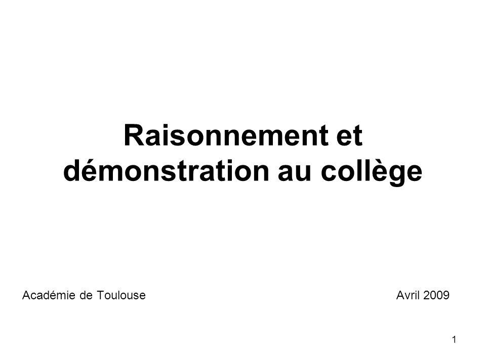 1 Raisonnement et démonstration au collège Académie de Toulouse Avril 2009