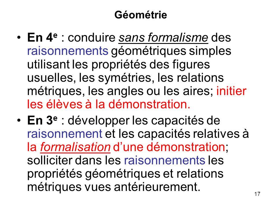 17 Géométrie En 4 e : conduire sans formalisme des raisonnements géométriques simples utilisant les propriétés des figures usuelles, les symétries, le