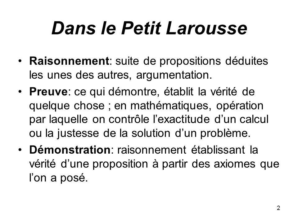 2 Dans le Petit Larousse Raisonnement: suite de propositions déduites les unes des autres, argumentation. Preuve: ce qui démontre, établit la vérité d