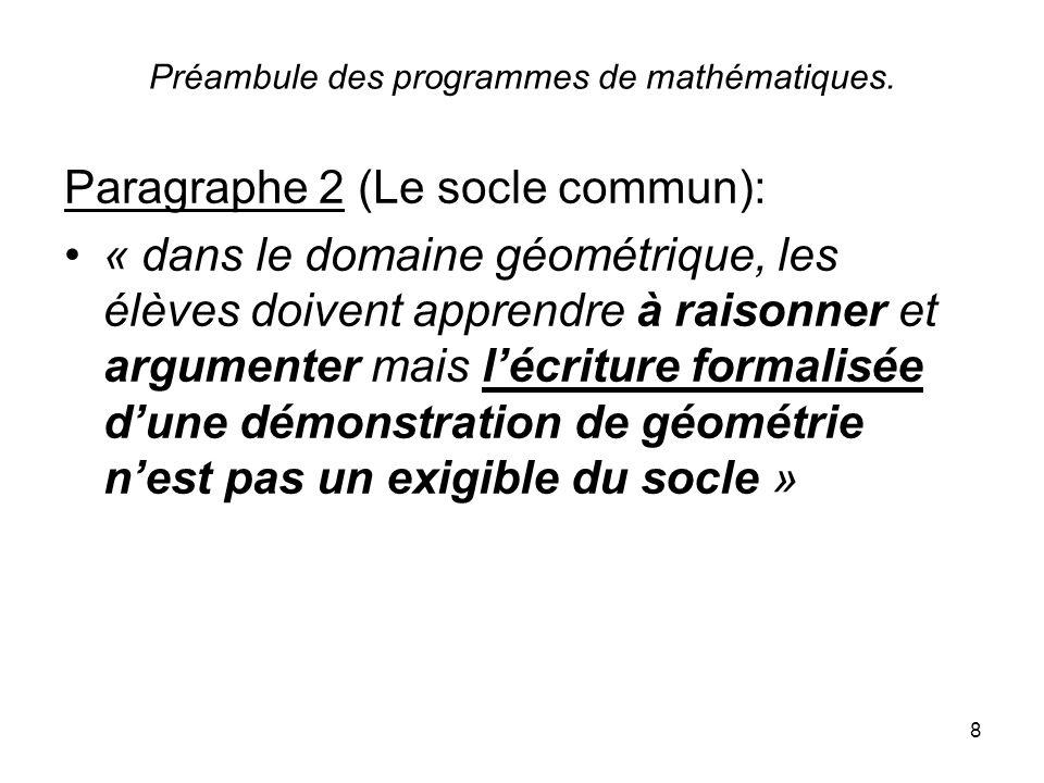 8 Préambule des programmes de mathématiques. Paragraphe 2 (Le socle commun): « dans le domaine géométrique, les élèves doivent apprendre à raisonner e