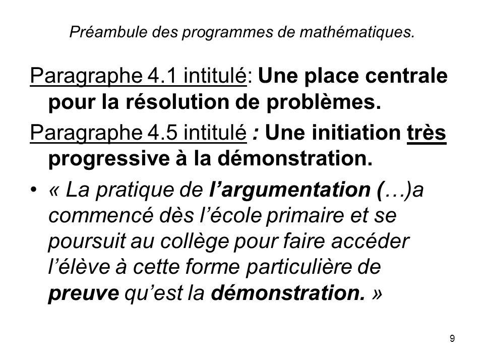 9 Préambule des programmes de mathématiques. Paragraphe 4.1 intitulé: Une place centrale pour la résolution de problèmes. Paragraphe 4.5 intitulé : Un