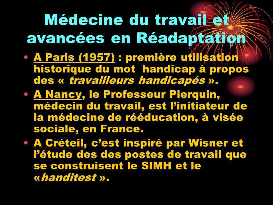 Médecine du travail et avancées en Réadaptation A Paris (1957) : première utilisation historique du mot handicap à propos des « travailleurs handicapé