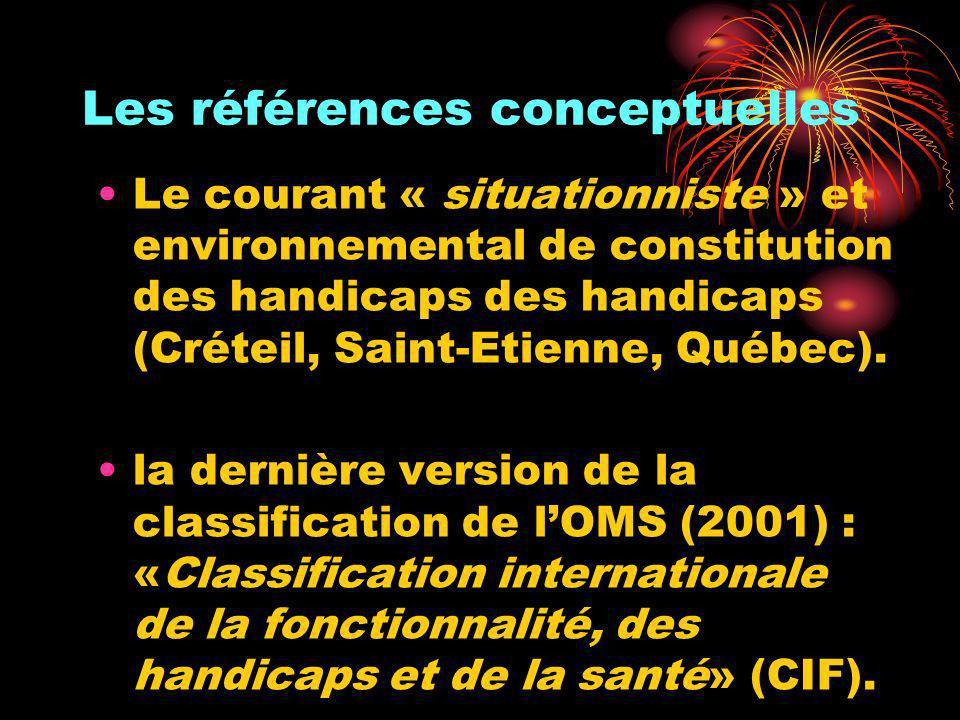 Les références conceptuelles Le courant « situationniste » et environnemental de constitution des handicaps des handicaps (Créteil, Saint-Etienne, Qué