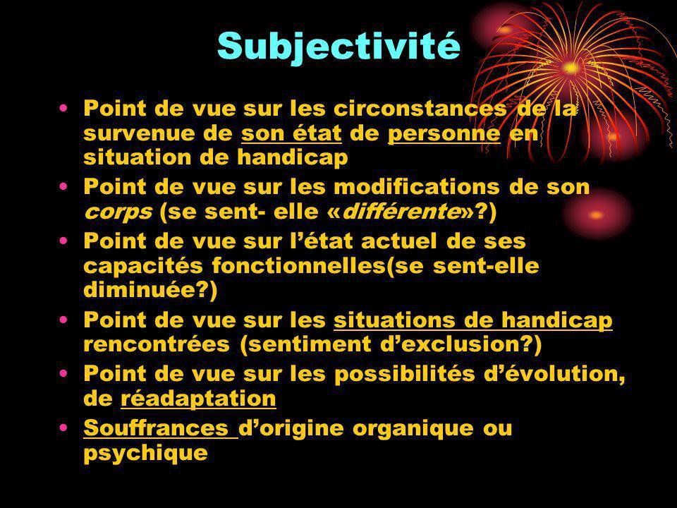 Subjectivité Point de vue sur les circonstances de la survenue de son état de personne en situation de handicap Point de vue sur les modifications de