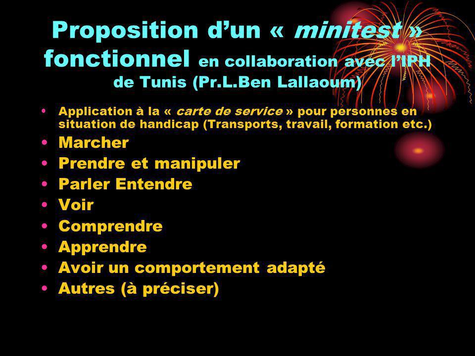 Proposition dun « minitest » fonctionnel en collaboration avec lIPH de Tunis (Pr.L.Ben Lallaoum) Application à la « carte de service » pour personnes