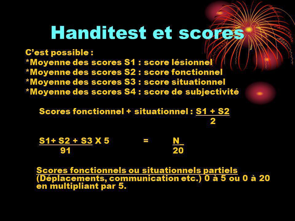 Handitest et scores Cest possible : *Moyenne des scores S1 : score lésionnel *Moyenne des scores S2 : score fonctionnel *Moyenne des scores S3 : score