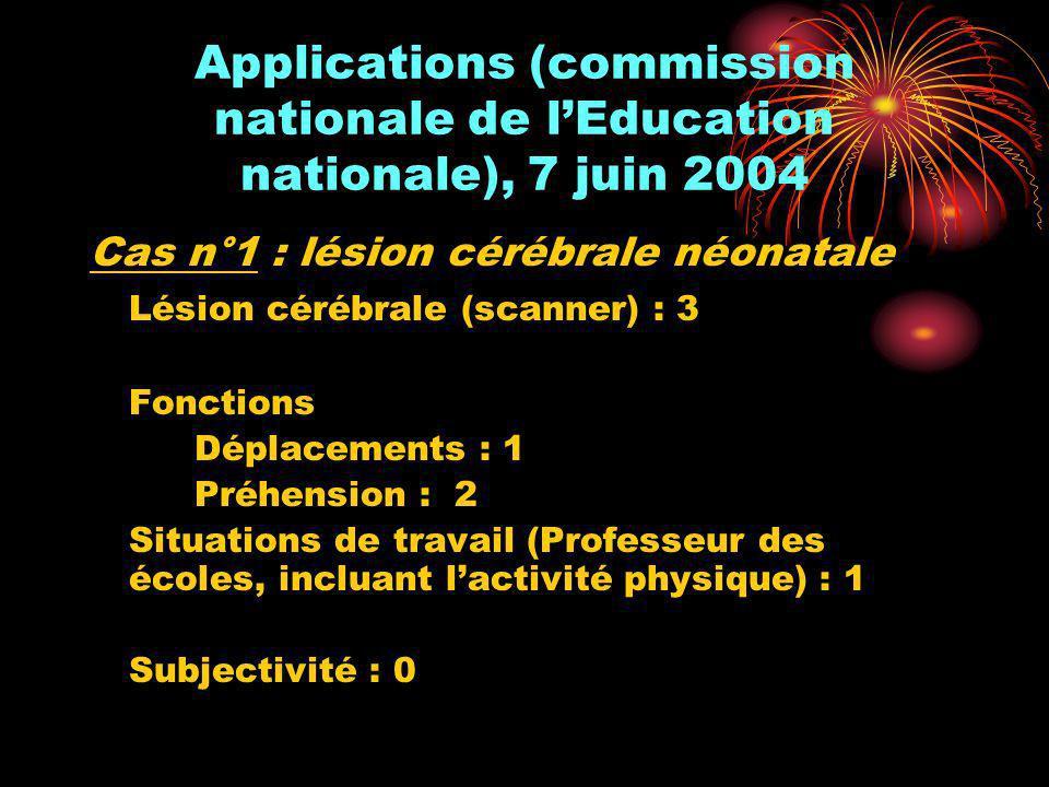 Applications (commission nationale de lEducation nationale), 7 juin 2004 Cas n°1 : lésion cérébrale néonatale Lésion cérébrale (scanner) : 3 Fonctions