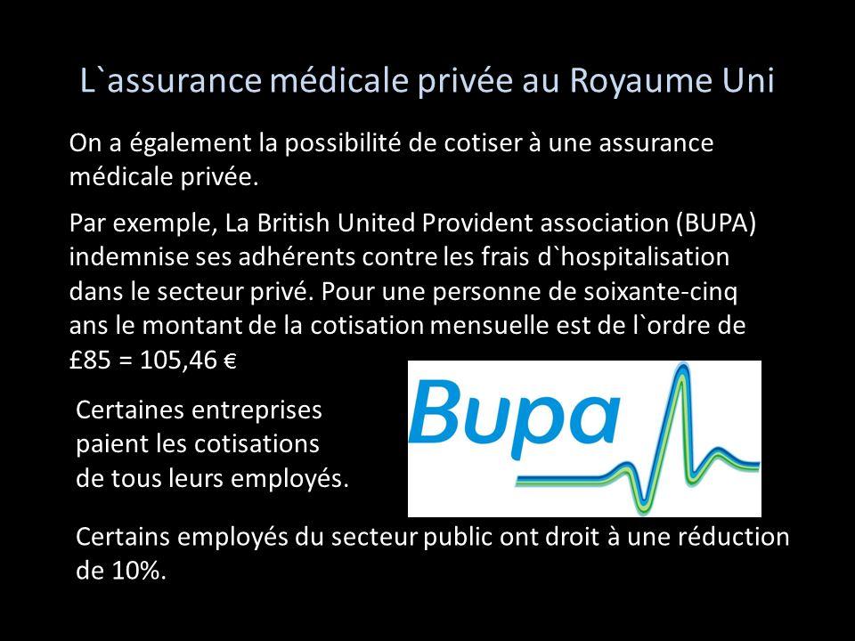 L`assurance médicale privée au Royaume Uni Par exemple, La British United Provident association (BUPA) indemnise ses adhérents contre les frais d`hosp