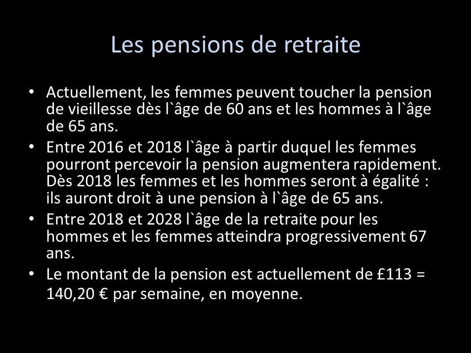 Les pensions de retraite Actuellement, les femmes peuvent toucher la pension de vieillesse dès l`âge de 60 ans et les hommes à l`âge de 65 ans. Entre