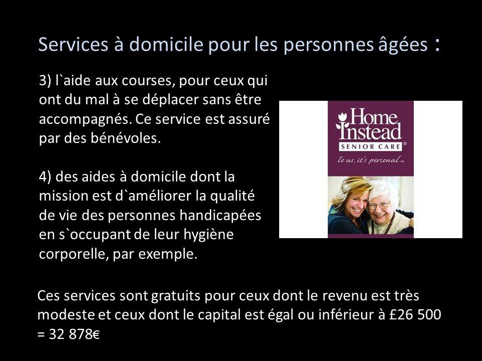 Services à domicile pour les personnes âgées : 3) l`aide aux courses, pour ceux qui ont du mal à se déplacer sans être accompagnés. Ce service est ass