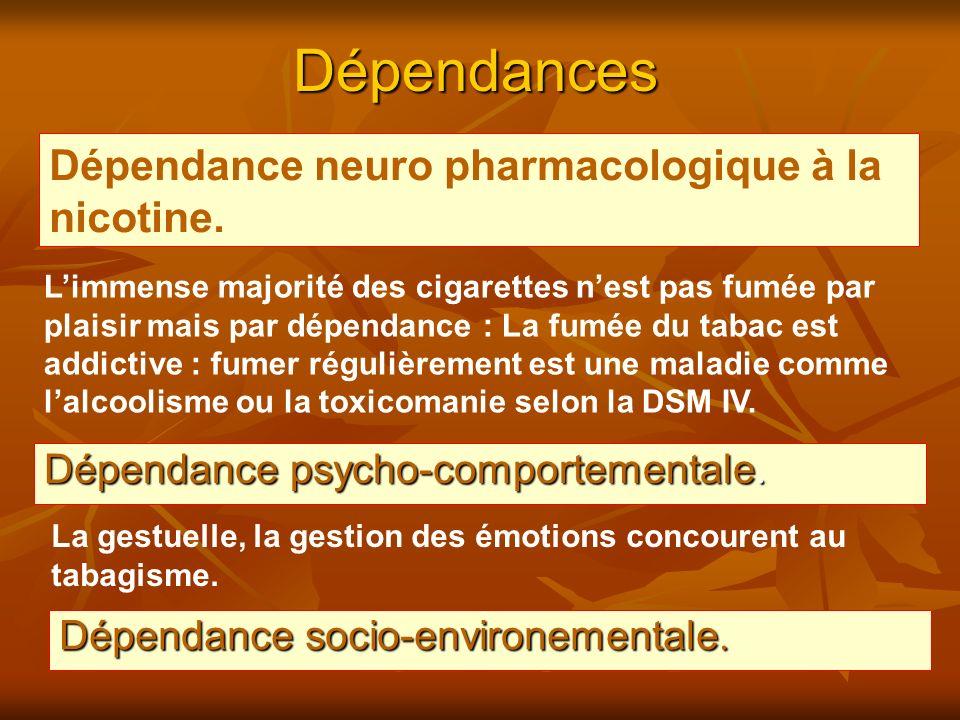 Dépendances Dépendance psycho-comportementale. Limmense majorité des cigarettes nest pas fumée par plaisir mais par dépendance : La fumée du tabac est