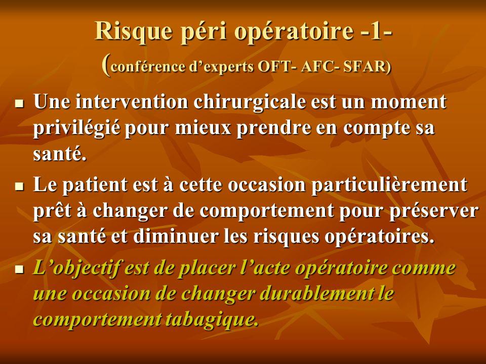 Risque péri opératoire -1- ( conférence dexperts OFT- AFC- SFAR) Une intervention chirurgicale est un moment privilégié pour mieux prendre en compte s