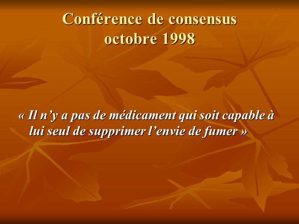 Conférence de consensus octobre 1998 « Il ny a pas de médicament qui soit capable à lui seul de supprimer lenvie de fumer »