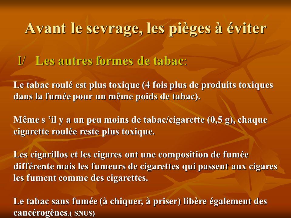 Avant le sevrage, les pièges à éviter I/ Les autres formes de tabac: Le tabac roulé est plus toxique (4 fois plus de produits toxiques dans la fumée p