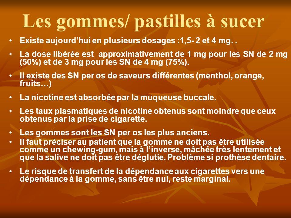 Les gommes/ pastilles à sucer Existe aujourdhui en plusieurs dosages :1,5- 2 et 4 mg.. La dose libérée est approximativement de 1 mg pour les SN de 2