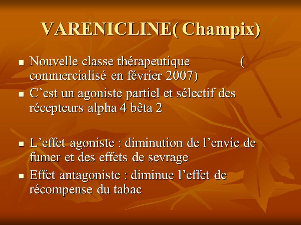 VARENICLINE( Champix) Nouvelle classe thérapeutique ( commercialisé en février 2007) Nouvelle classe thérapeutique ( commercialisé en février 2007) Ce
