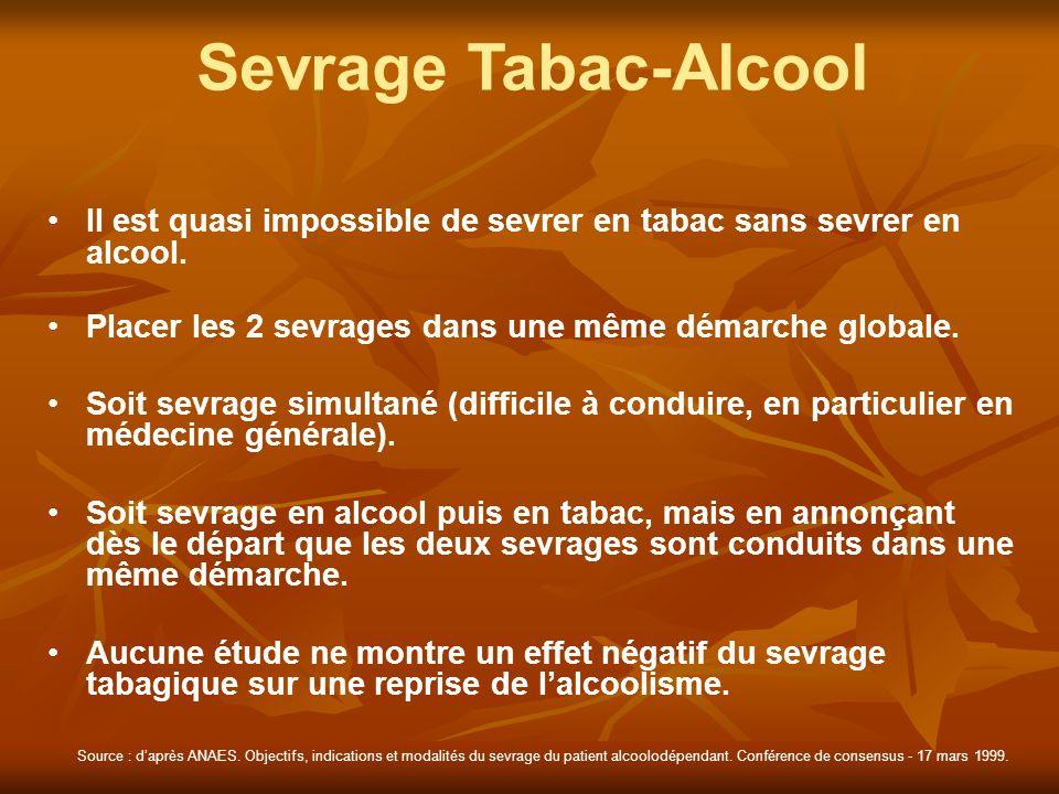 Sevrage Tabac-Alcool Il est quasi impossible de sevrer en tabac sans sevrer en alcool. Placer les 2 sevrages dans une même démarche globale. Soit sevr