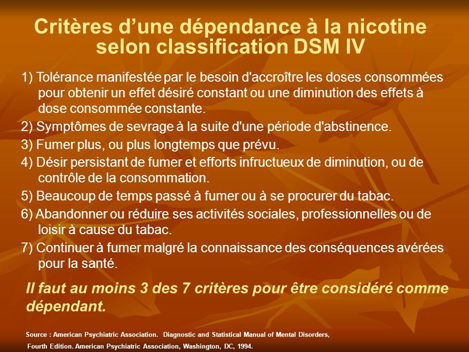 Critères dune dépendance à la nicotine selon classification DSM IV 1) Tolérance manifestée par le besoin d'accroître les doses consommées pour obtenir