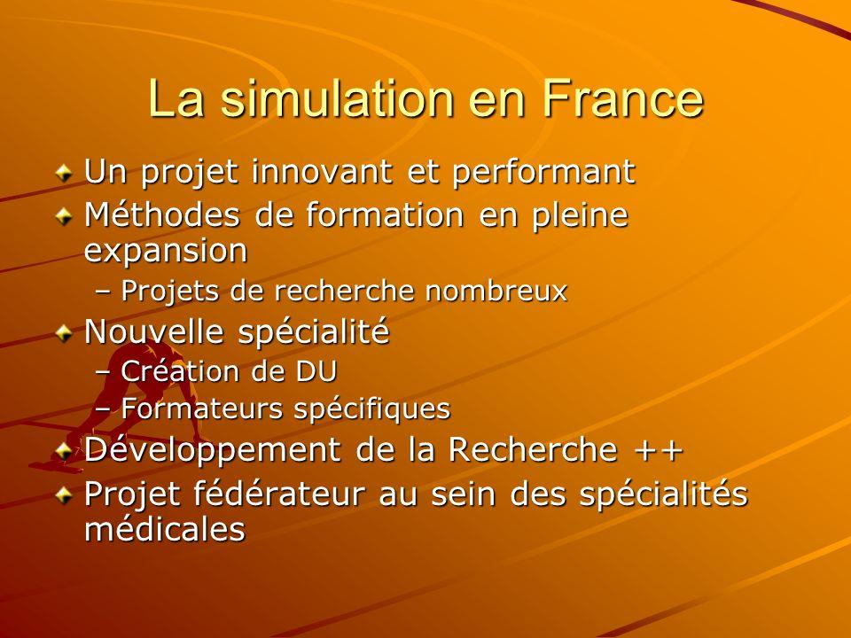 La simulation en France Un projet innovant et performant Méthodes de formation en pleine expansion –Projets de recherche nombreux Nouvelle spécialité –Création de DU –Formateurs spécifiques Développement de la Recherche ++ Projet fédérateur au sein des spécialités médicales