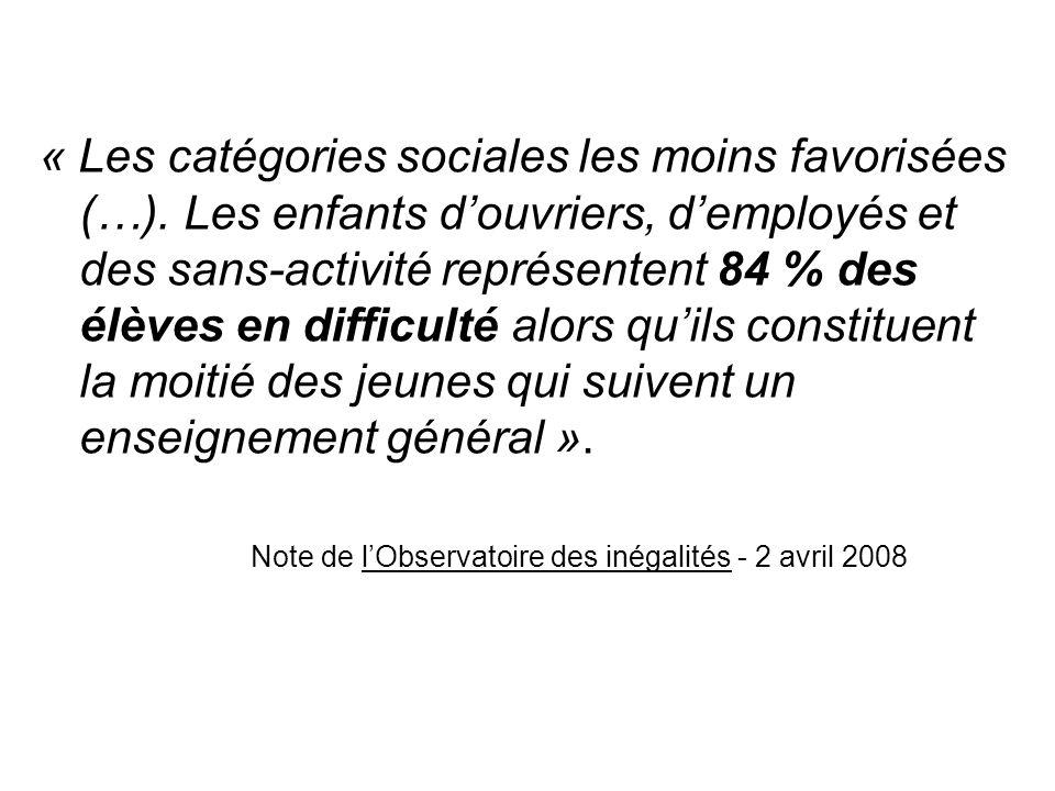« Les catégories sociales les moins favorisées (…). Les enfants douvriers, demployés et des sans-activité représentent 84 % des élèves en difficulté a
