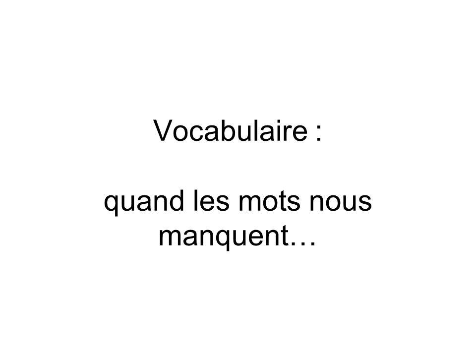 Vocabulaire : quand les mots nous manquent…