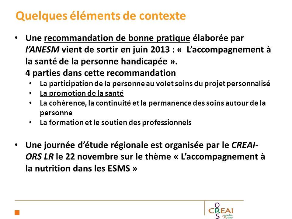 Une recommandation de bonne pratique élaborée par lANESM vient de sortir en juin 2013 : « Laccompagnement à la santé de la personne handicapée ».