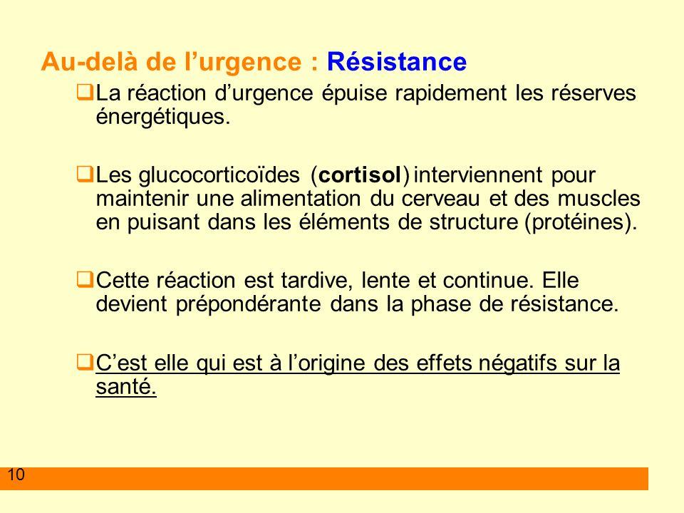 10 Au-delà de lurgence : Résistance La réaction durgence épuise rapidement les réserves énergétiques. Les glucocorticoïdes (cortisol) interviennent po