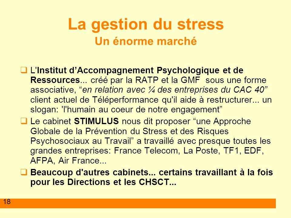 18 La gestion du stress Un énorme marché L'Institut dAccompagnement Psychologique et de Ressources... créé par la RATP et la GMF sous une forme associ
