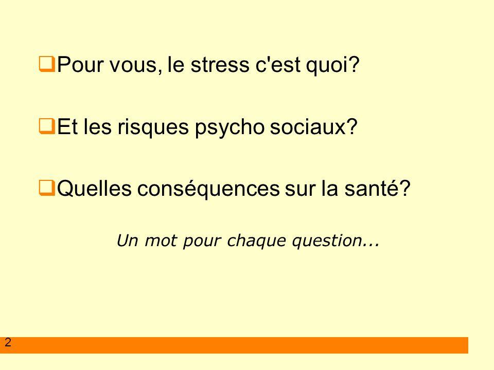 2 Pour vous, le stress c'est quoi? Et les risques psycho sociaux? Quelles conséquences sur la santé? Un mot pour chaque question...