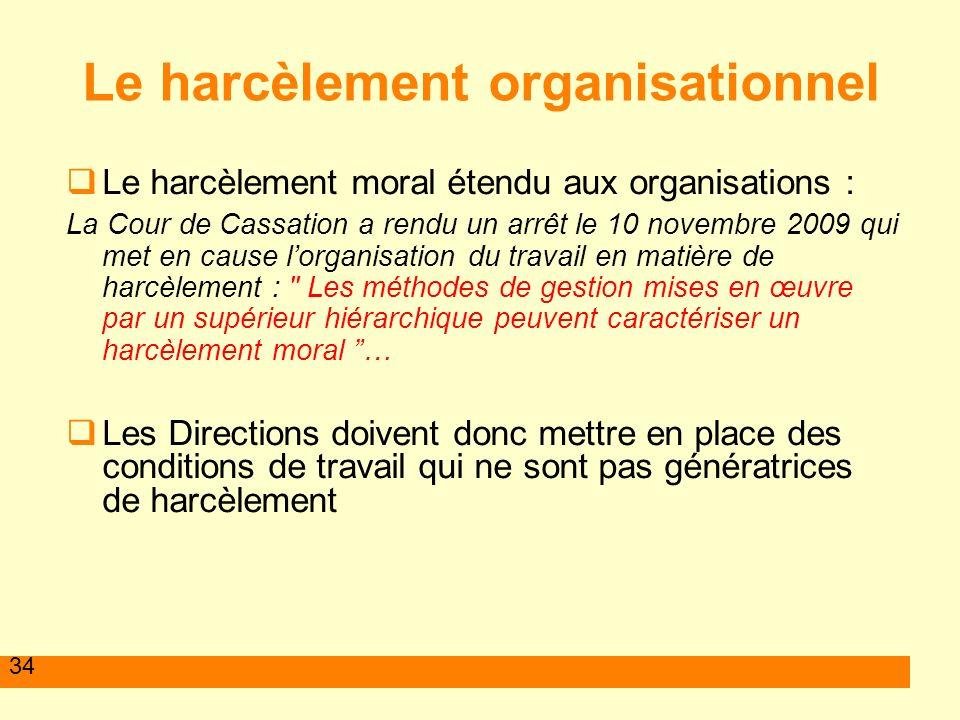 34 Le harcèlement organisationnel Le harcèlement moral étendu aux organisations : La Cour de Cassation a rendu un arrêt le 10 novembre 2009 qui met en