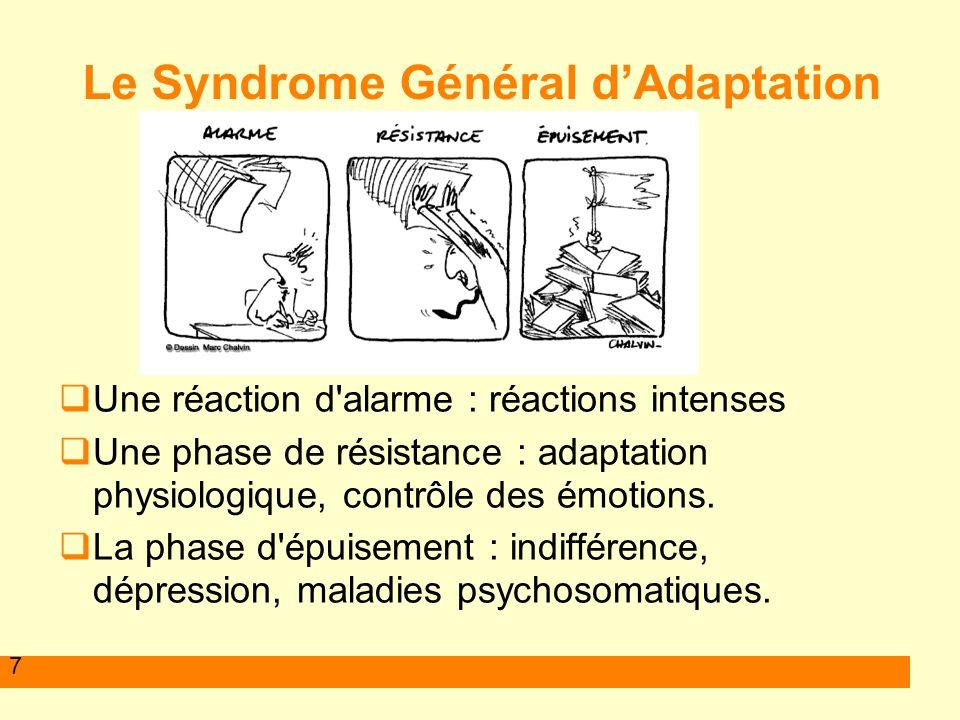 7 Le Syndrome Général dAdaptation Une réaction d'alarme : réactions intenses Une phase de résistance : adaptation physiologique, contrôle des émotions