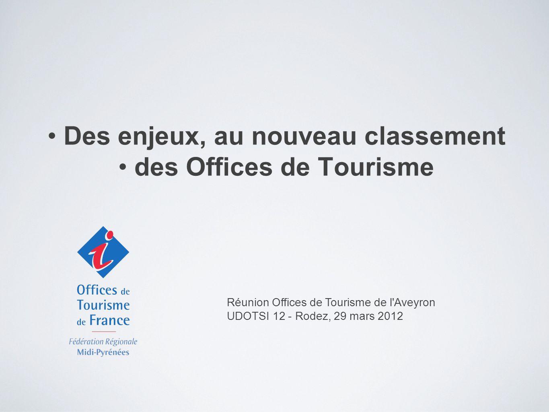 Des enjeux, au nouveau classement des Offices de Tourisme Réunion Offices de Tourisme de l Aveyron UDOTSI 12 - Rodez, 29 mars 2012