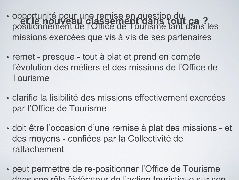 opportunité pour une remise en question du positionnement de lOffice de Tourisme tant dans les missions exercées que vis à vis de ses partenaires reme